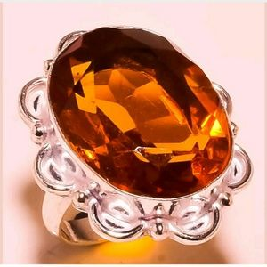 Sterling Silver plated Citrine ring Large stone
